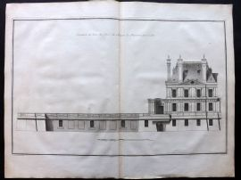 Blondel 1738 LG Architecture Print. Elevation Chateau de Maisons par le cote